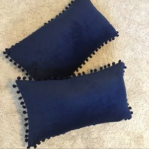 NWOT feather accent pillows w/ blue velvet cover